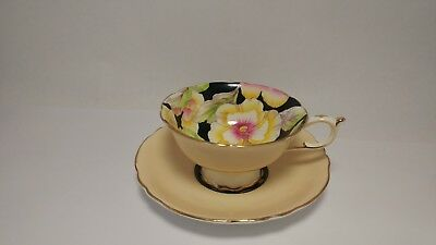 Paragon G6600 / 1 Black Cup & Saucer w/ Hand Painted Pansies - Not Perfect