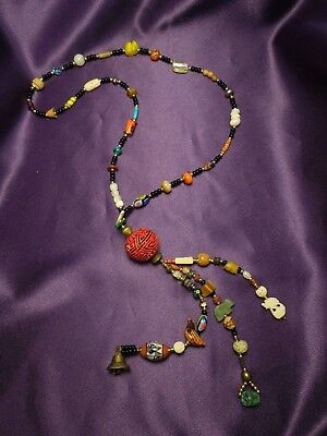 Beads of the World Vintage Necklace W/ Bell - Carved Stone, Wood Animal Designs