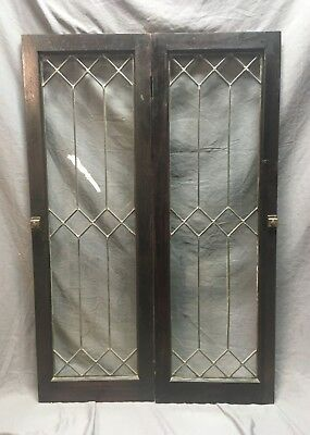 Pair Leaded Glass Diamond Casement Door Bookshelf Cabinet 16x48 Vtg Old 130-18C