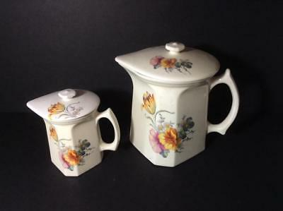 Coors Pottery Thermo Porcelain Pancake Batter & Syrup Covered Pitcher Set, Tulip