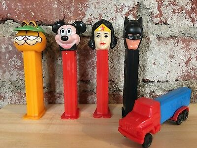 Vintage Wonder Woman Batman Garfield Mickey Mouse & Semi Truck Pez Dispensers