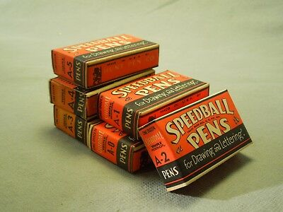 Hunt Co Speedball Pens Box Set of 6 Pen Ink Nibs in Vintage Boxes A-0 to A-5
