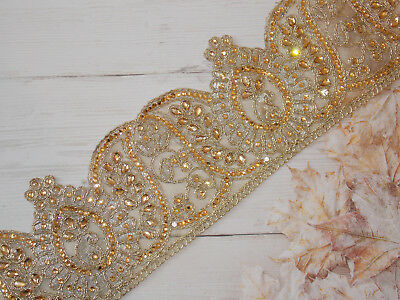 1m 6.5cm gold pink purple crystal indian arabic paisley braid lace wedding