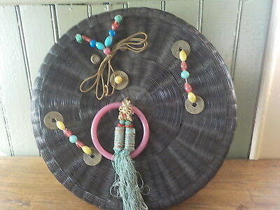 Antique Chinese Wicker Sewing Basket W Lid Coins Beads Tassels Handle