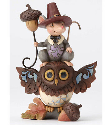 Jim Shore NUTTY FOR AUTUMN Pint Size STACKED OWL AND MOUSE Figure 4053857 NEW