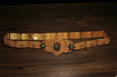 Chinese Antique Brass handmade gemstone belt   h