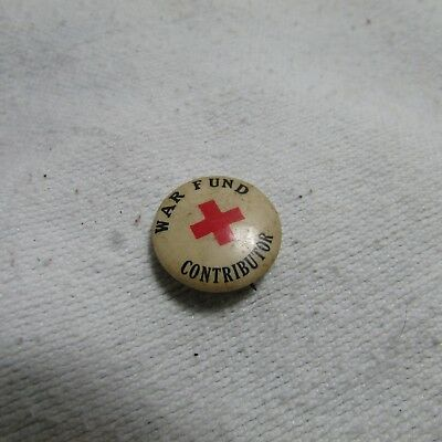 Antique WWI Red Cross Litho Pin Badge Button, War Fund Contributor