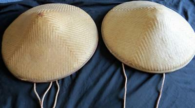 "2 VINTAGE ASIAN CONICAL COOLIE Bamboo Straw HATS 16"" Diameter Lot Set Paddy"