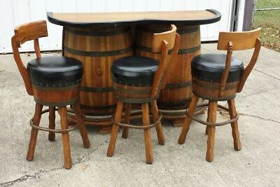 Vintage 50s 60s Danish Modern Mid Century Wiskey Barrel bar and Stools
