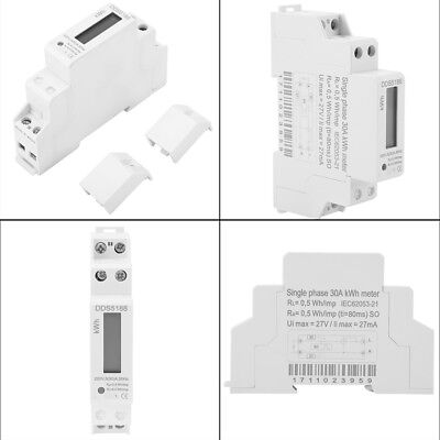 Digital LCD 220V Single Phase DIN-Rail 5-30A Electronic Energy KWh Meter
