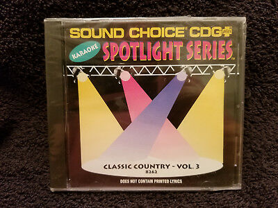 Sound Choice Karaoke CD+G Spotlight Series Classic Country - Vol. 3 - 8262 New!