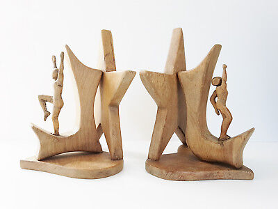 Pair Of Bookends Out Of Oakwood Johnny Ludecher 1960 1970 Vintage 60S 70S