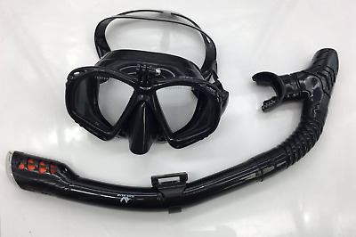 Diving Mask Snorkeling Set Goggles Tube with Go Pro Mount Black Snorkel Swimming