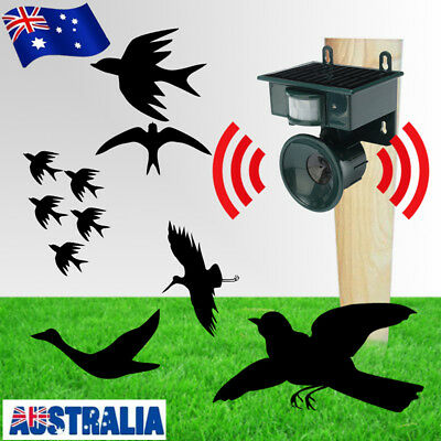PIR Outdoor Solar Ultrasonic Pest Animal Bird Crow Repeller Repellent Scarer AU
