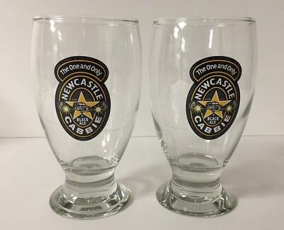 NEWCASTLE Cabbie Black Ale 16 oz Pint Beer Glass - Set of Two (2) Glasses - NEW