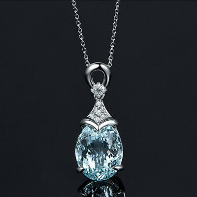 Vintage Gemstone  Natural Aquamarine Silver Chain Pendant Necklace Jewelry Gift