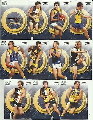 2011 AFL select INFINITY WEST COAST EAGLES COMMON TEAM SET 11 CARDS