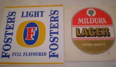 TWO Large beer stickers - Ideal for mans shed  -  Fosters and Mildura Lager