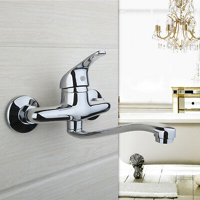 Bathroom Chrome Kitchen Sink Mixer Taps Wall Mount Basin Laundry Faucet