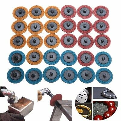 "30 Pcs 2"" Roll Lock Surface Sanding Disc For Conditioning Fine Medium Coarse Hot"
