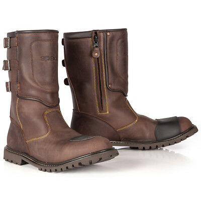 Spada Foundry Brown Vintage Mens Waterproof Motorcycle Motorbike Boots