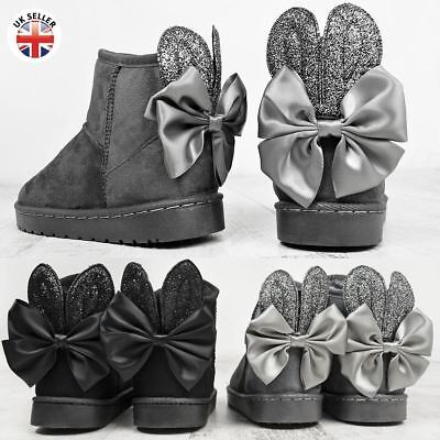 Girls Kids Childrens Snugg Winter Flat Ankle Boots Faux Fur Bunny Rabbit