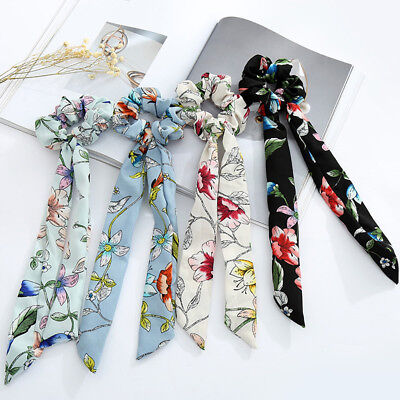 Womens Floral Bow Long Hair Rope Scrunchies Bohemian Ponytail Holder Wristbandx1