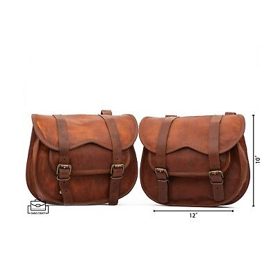 VintageLeatherCraft 2 X Motorcycle Side Pouch Brown Leather Side Pouch Saddlebag