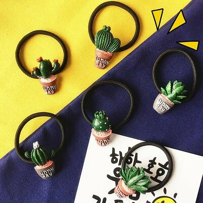Ladies Cartoon Cactus Potted Plant Elastic Hair Ties Ponytail Scrunchie Women