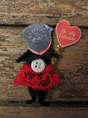 BLACK PUG DOG VALENTINE Vintage Style Chenille Christmas Ornaments - Set of 2