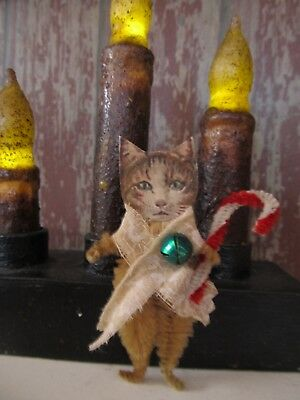 CANDY CANE TABBY CAT Vintage Style Chenille Christmas Ornament - Set of 2