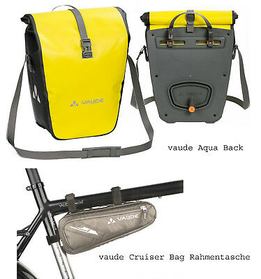 vaude Aqua Back SINGLE Radtasche canary + Rahmentasche Cruiser Bag (pebbles)