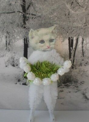 WHITE CAT Christmas Kitty Vintage Style Chenille Ornaments - Set of 2