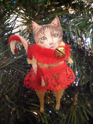 CHRISTMAS TABBY CAT Vintage Style Chenille Holiday Ornaments - Set of 2