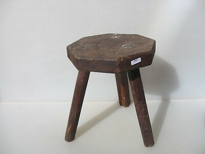 Large Vintage Wooden Stool Bench Seat Step Old Antique Milking 3 Legs