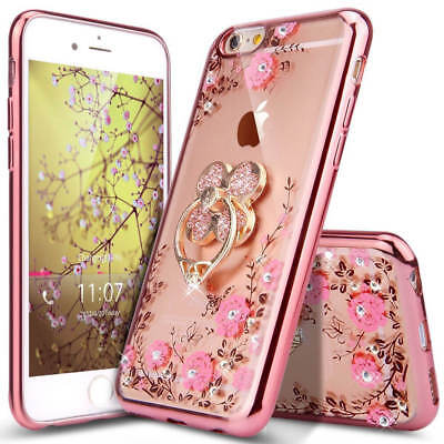 Bling Glitter Rhinestone Clear TPU Plated Cover Case For iPhone XS Max XR 8 Plus