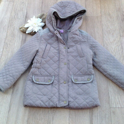 Girls Age 5-6Y Quilted Hooded Coat Riding Style patch sleeves cosy warm trendy
