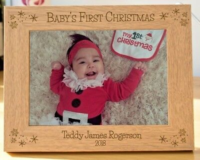 Babys First Christmas Personalised Engraved Christmas Photo Frame