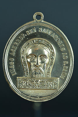 Large religious Bronze Vatican Medal Pendant Holy Face / Holy stairs 19THc