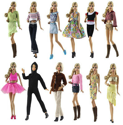 Random 5 Set Outfit Fashion Handmade Casual Wear Evening Clothes For Barbie Doll