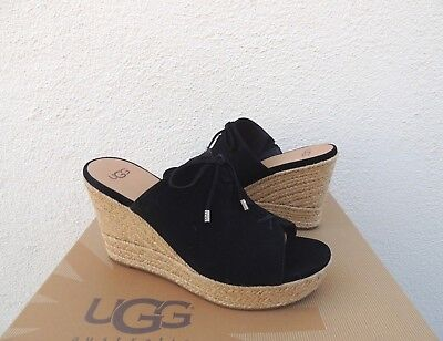 2baef64bab0b UGG CANVAS DELANEY Leather Platform Wedge Slide Sandals