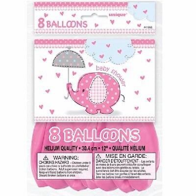 ** 8 Girls Baby Shower Latex Balloons Pink Elephant Party Decoration Helium