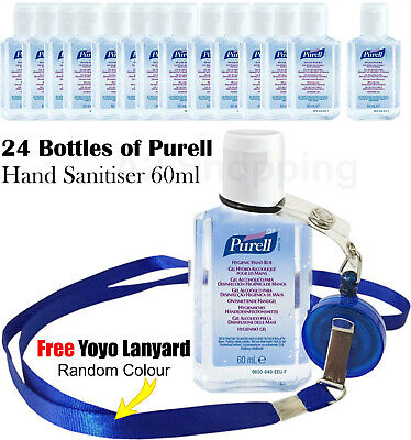 24 x Purell Hand Sanitiser Bottle Spray Pump Rub Gel 60ml Travel Size + Lanyard
