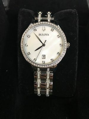 Bulova 96M144 Women's White MOP Dial Silver Tone Dress Watch with Crystals
