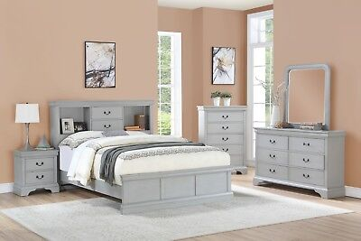 Grey Color Classic Bedroom Furniture Wooden 4pc Twin Size Bed Dresser Mirror NS