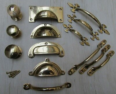 SOLID BRASS Vintage retro old furniture cupboard cabinet drawer kitchen fittings