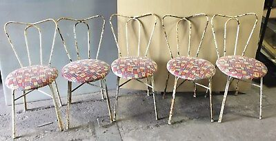 5 Metal Antique Vintage Ice Cream Cafe Chairs