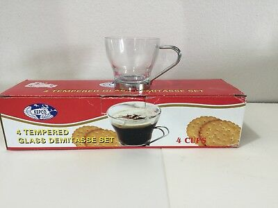 Set Of 4- Demitasse Espresso Coffee Glass Cups With Metal Handles-New-Small Sz