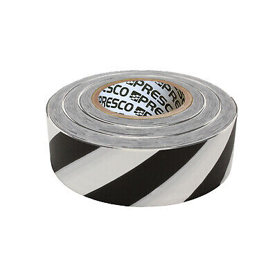 Presco Striped Roll Flagging Tape: 1-3/16 in. x 300 ft. (White/Black Stripe)