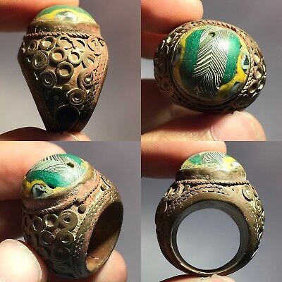 Ancient Mosaic Glass old Bronze Ring